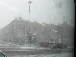 madrid-sotto-la-neve-Biblioteca Nazionale Plaza Colon