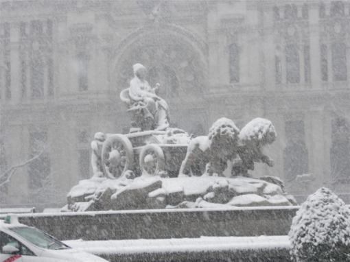 madrid-sotto-la-neve-Plaza Cibeles